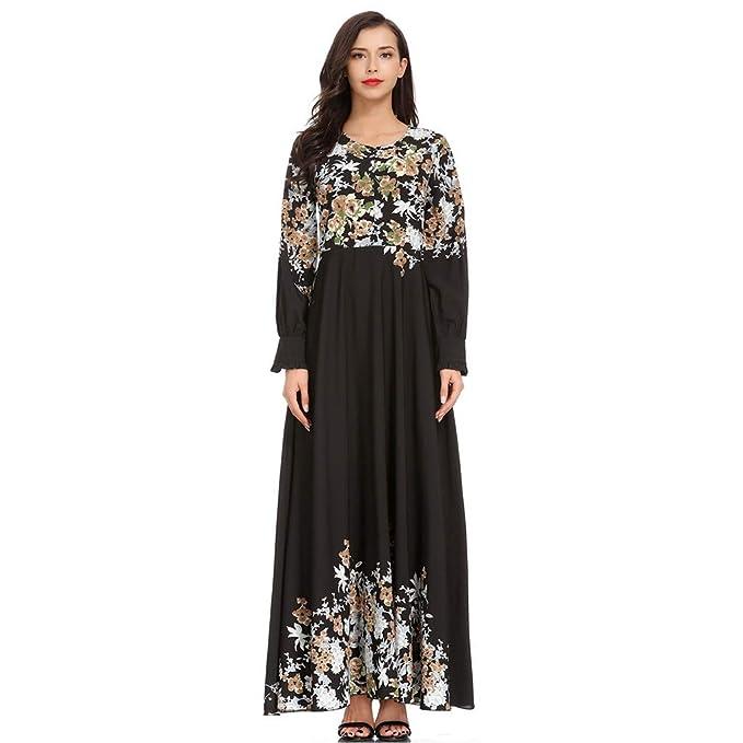 de80f5ddb5254 Women Muslim Kaftan Abaya Dress Elegant Floral Printing Summer Casual Flowy  Long Maxi Party Cocktail Dresses