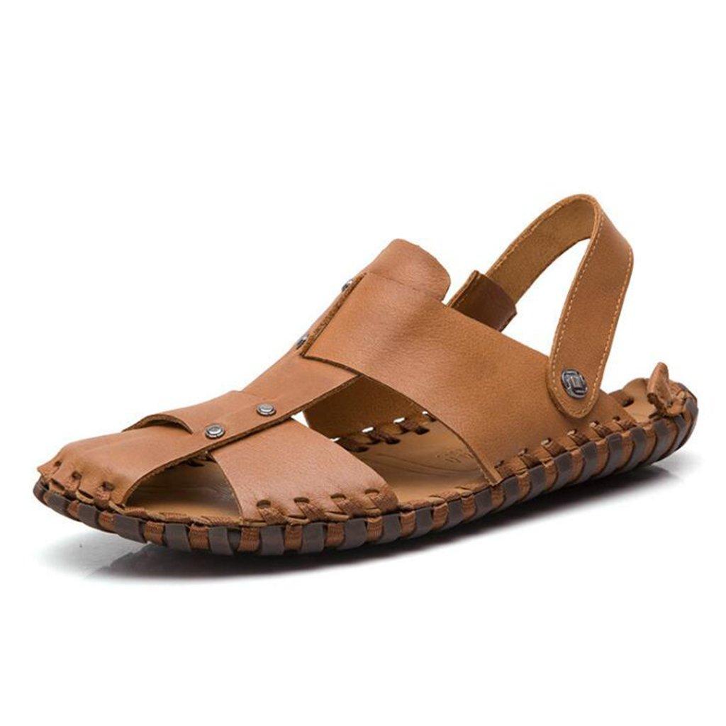 Sandalias - Zapatos de Playa de Cuero de Verano para Hombres/Sandalias de Coser Hechas a Mano/Propósito Doble US10/EU43/UK9/CN44|Brown