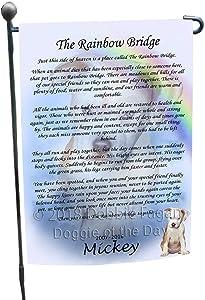 Doggie of the Day Rainbow Bridge Pitbull Dog Garden Flag GFLG56226