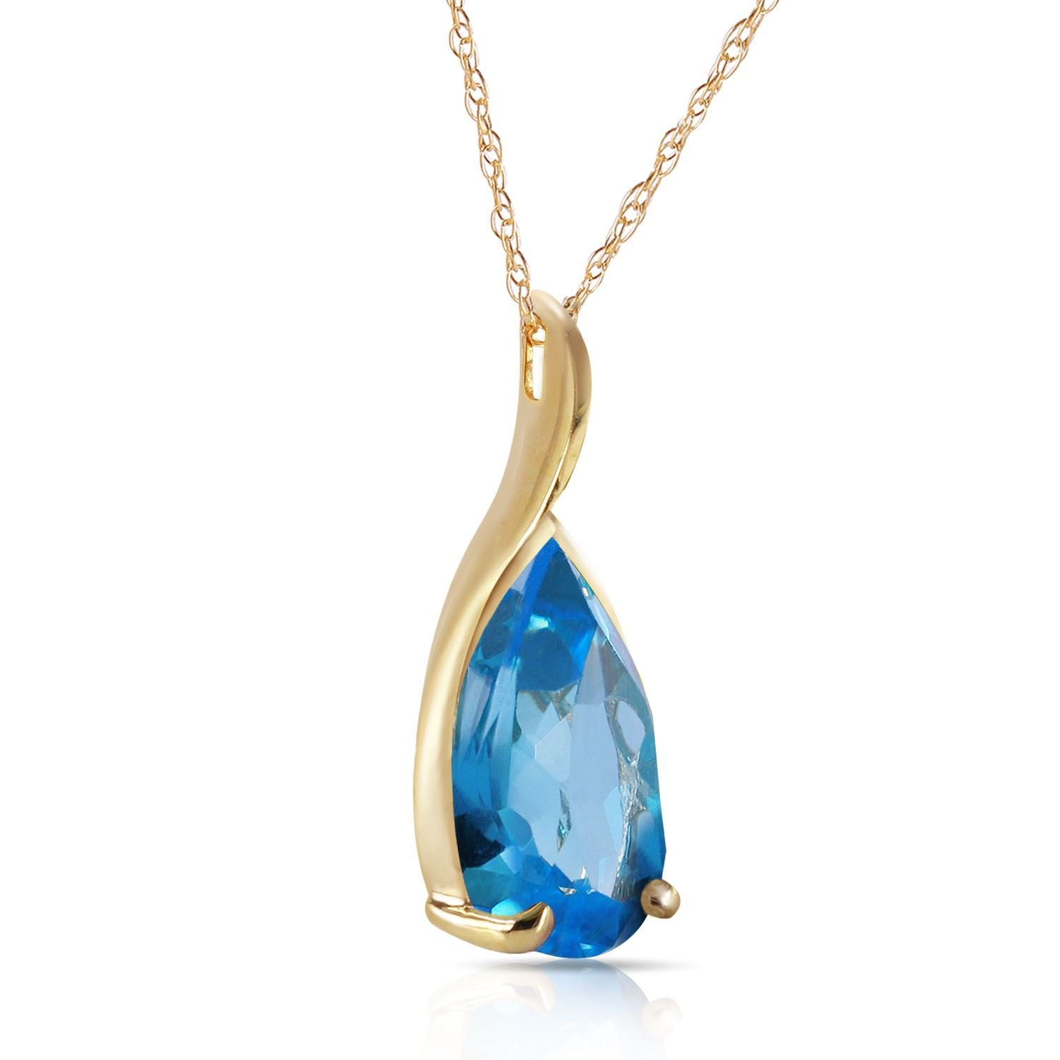 ALARRI 4.7 Carat 14K Solid Gold Love Sonnets Blue Topaz Necklace with 18 Inch Chain Length