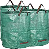 Pack of 3 Large 272L Yard Waste Bags Heavy Duty with Handles,Green Leaf Bags with PP Woven Fabric (H76 cm, D67 cm)