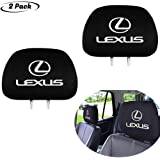 Headrest cover 2Pcs Black Comfortable for Lexus,Easy to Disassemble and Wash,Can Be Stretched and Applied Universal All Car M