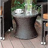 Furniture of America Matson Patio Wicker Round End Table in Espresso
