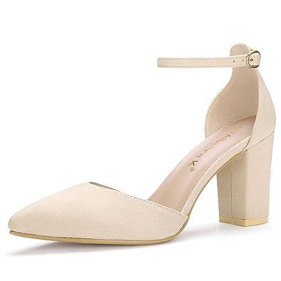 2c64bf987f03 Allegra K Women s Point Toe Chunky High Heel Ankle Strap Beige Pumps - 6 ...