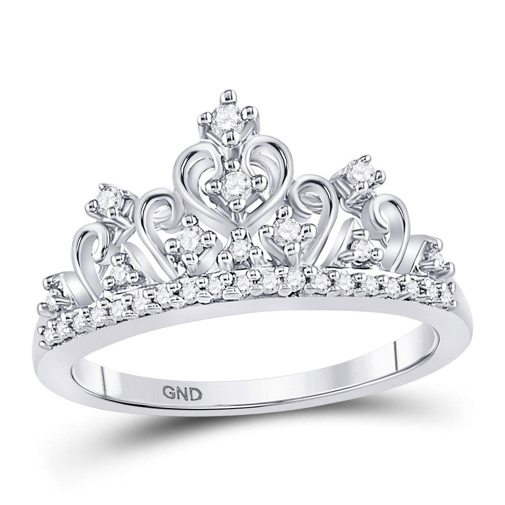 Jewels By Lux 10K White Gold Round Diamond Womens Crown Tiara Cocktail Wedding Band 1/5 Cttw Size 8 by Jewels By Lux