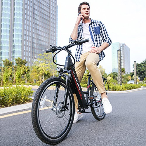 ANCHEER Electric Bike, 26 Inch Electric Commuter Bicycle with 36V 10 Ah Lithium Battery, 250W Brushless Gear Motor