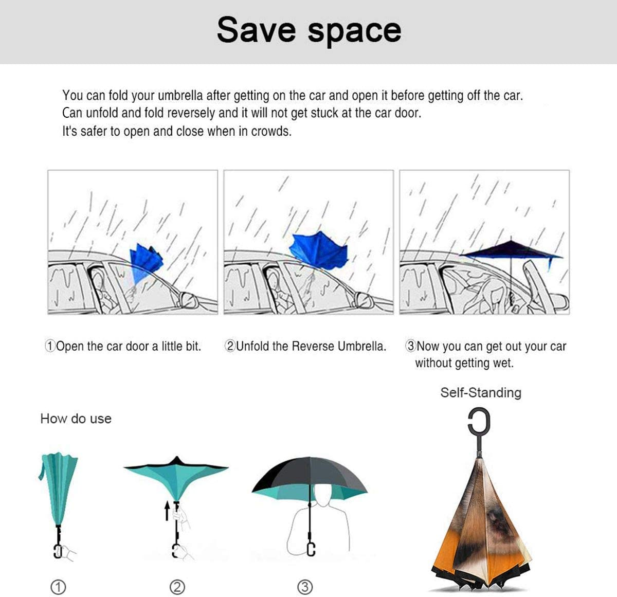 Self Stand Upside Down with C-Shaped Handle Folding Reverse Umbrella for Car Rain Outdoor PYFXSALA Cute Puppy Windproof Inverted Umbrella Double Layer UV Protection