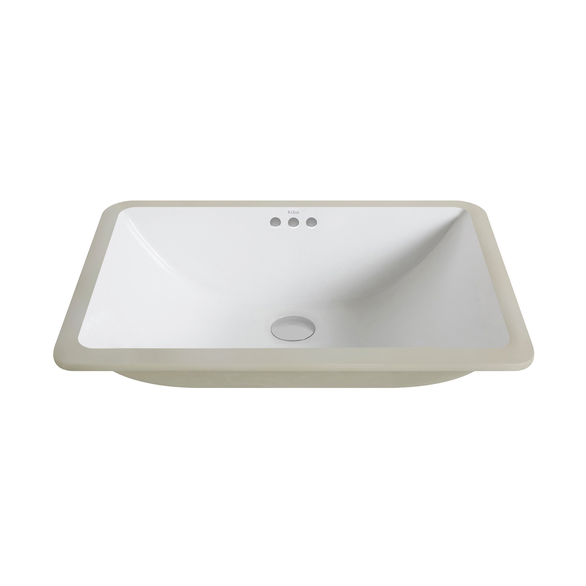 Kraus KCU-251 Elavo Ceramic Large Rectangular Undermount Bathroom Sink with Overflow, White by Kraus