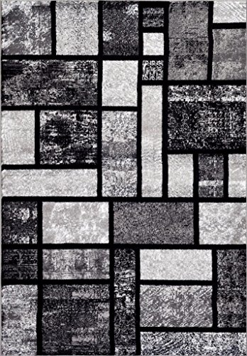 Persian-Rugs T1007 Abstract Modern Area Rug Carpet, 7'10 X 10'2, Gray Black White