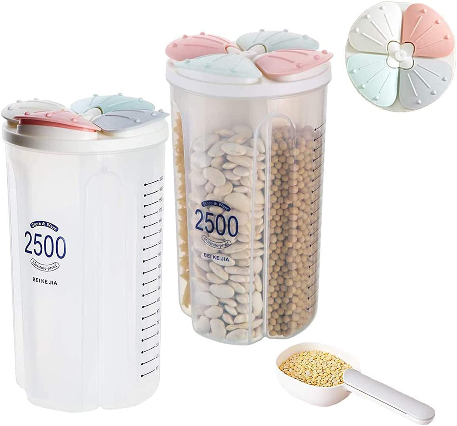 Grain Storage Container, Plastic Sealed Dry Food Storage Container with Lid, with Lid and Partition, for Grain, Sugar, Flour, Rice, Nuts, Coffee Beans (2.5 Liters) (4 Cells)