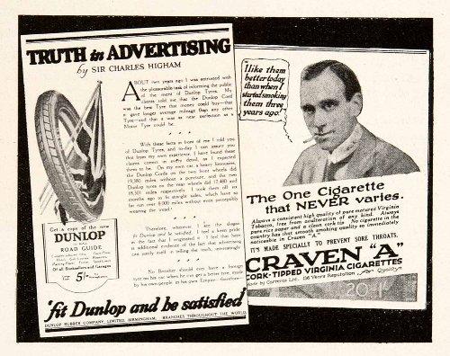1924 Print English Advertising Dunlop Craven A Cigarettes Tires Charles Highman - Original Halftone Print from PeriodPaper LLC-Collectible Original Print Archive