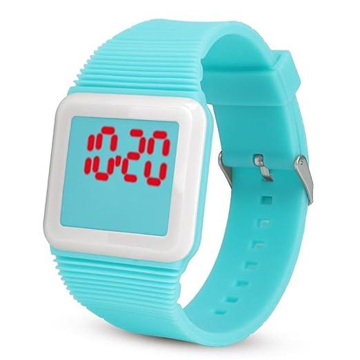 QinMM Deporte Muñeca Relojes Digitales LED Tecnología para Niños Niñas pulsera (Menta verde): Amazon.es: Relojes