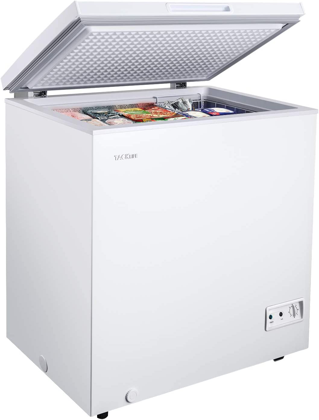 Chest Freezer, 5 Cu Ft Small Freezer 10.4℉ to -11.2℉, with Removable Basket/7 Temperature Setting/Power Saving, White, for Home/Kitchen/Office/Bar - MPWCF053T