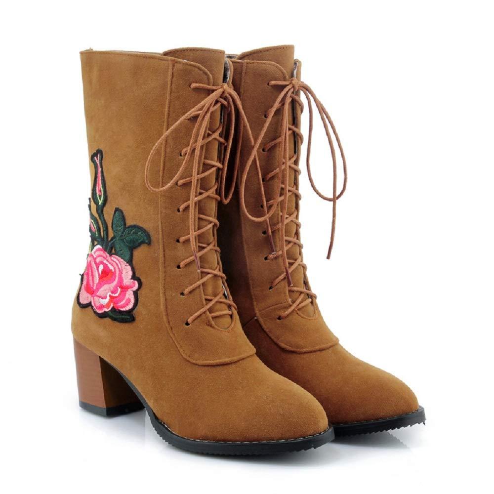 ZHRUI Schnürstiefel Damen Große Größe Stickerei Blaumenblock Schuhe (Farbe   Gelb Größe   EU 38)
