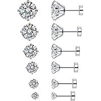 6 Pairs 20g Stainless Steel Cubic Zirconia Stud Earrings for Women Men Cartilage Ear Piercings Helix Tragus Flat Screw…