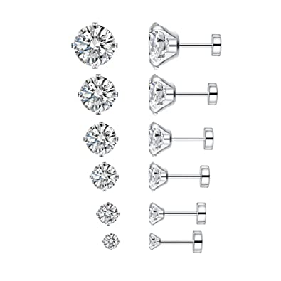 e283b9a33 6 Pairs 20g Stainless Steel Cubic Zirconia Stud Earrings for Women Men  Cartilage Ear Piercings Helix