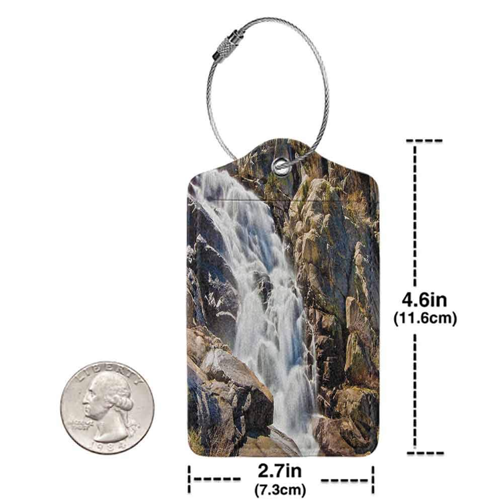 Multicolor luggage tag National Parks Home Decor Stream Bedrock in Sunny Day Wild Lands Hike Mother Earth Motion Hanging on the suitcase Grey White W2.7 x L4.6