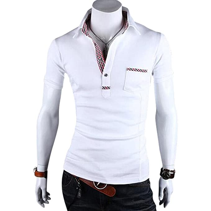 8462d2f51 Hannea Stylish Pocket Design Male Grid Color Block Turn Down Collar Shirt:  Amazon.in: Clothing & Accessories