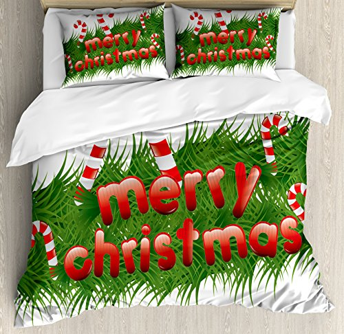Ambesonne Christmas Duvet Cover Set Queen Size, Candy Canes
