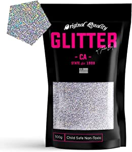 TWISTED ENVY Silver Holographic Premium Glitter Multi Purpose Dust Powder 100g / 3.5oz for use with Arts & Crafts Wine Glass Decoration Weddings Cards Flowers Cosmetic Face Body (Packaging May Vary)