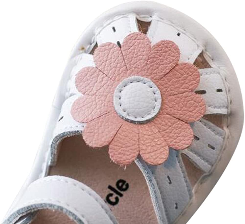 Goodkids Girls Summer PU Leather Solid Flower Sports/& Casual Soft Closed-Toe Sandals Toddler//Little//Big Kid