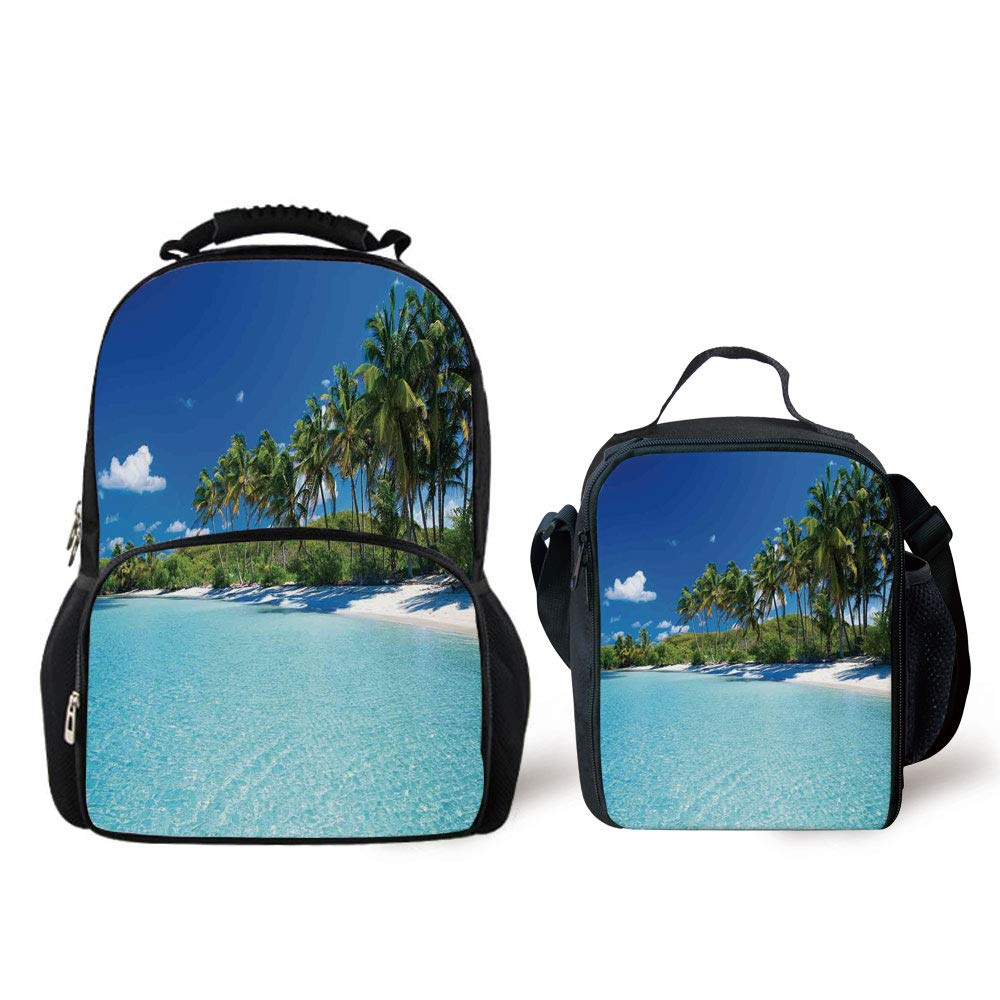iPrint Schoolbags Lunch Bag,Ocean Decor,Relax Beach Resort Spa Palm Trees Sea,Personality Pattern
