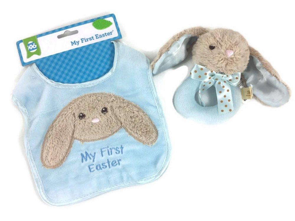 Baby Boys First Easter Keepsake Bundle: 2 Items; 1 Bunny Plush Washable Bib, 1 Soft And Cuddly Blue Plush Bunny Rattle