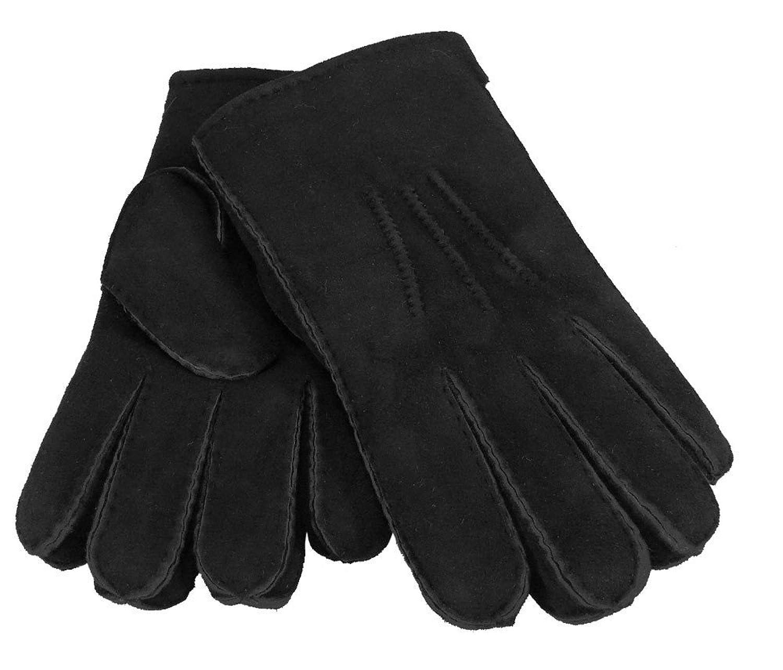 Handschuh aus echtem Lammfell in schwarz