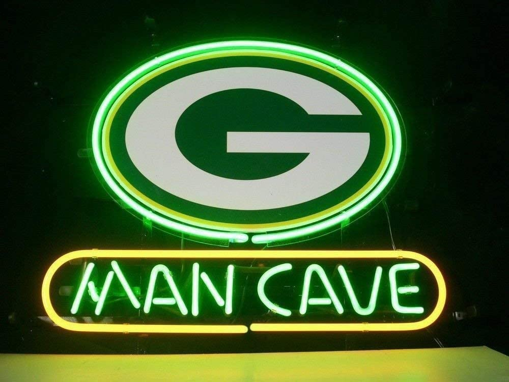 Amazon Com Queen Sense 14 X10 Green Bay Packer Man Cave Neon Sign Light Beer Bar Pub Real Glass Lamp De42 Kitchen Dining