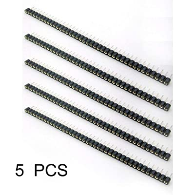 5Pcs Pitch 2.54mm 40 Pin Tin PCB Panel IC Breakable Round Header Strip Multi-funcional Female Header Strip (negro): Bricolaje y herramientas