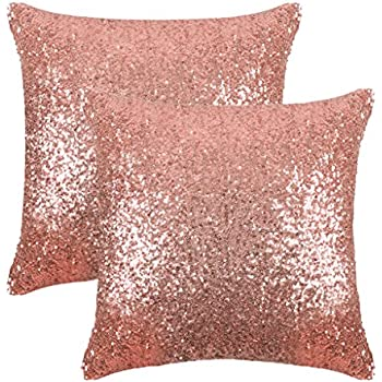 PONY DANCE Sparkling Sequins Throw Pillow Covers Comfy Satin Solid Cusion Covers Pillowcases for Party/Christmas with Hidden Zipper,18 Inch Square,2 Pieces,Champagne Blush