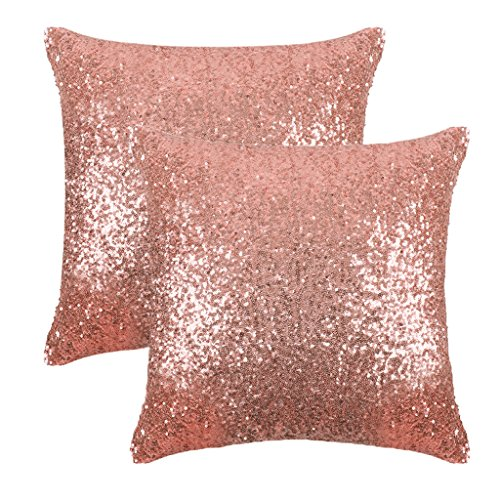 Sparkling Sequins Throw Pillow Covers - PONY DANCE Comfy Satin Solid Cusion Covers Pillowcases for Party with Hidden Zipper,18 Inch Square,2 Pieces,Champagne Blush