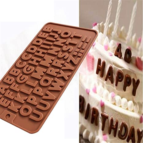Molde de silicona Igemy con diseño de 26 letras para chocolate, caramelos,