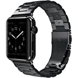 Apple Watch Band Stainless Steel Wristband Metal Buckle Clasp iWatch Strap Stripe Replacement Bracelet for Apple Watch Series 3/2/1 Sports Edition 42mm Black