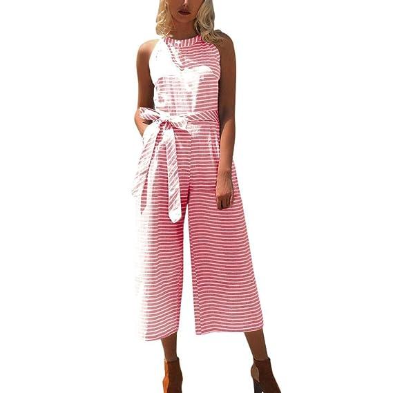 Bekleidung AMUSTER Jumpsuit Damen Elegant Sommer Hosenanzug Frauen  ärmellose Streifen Jumpsuit Lässige Clubwear Wide Leg Hosen 10f6cc21cf