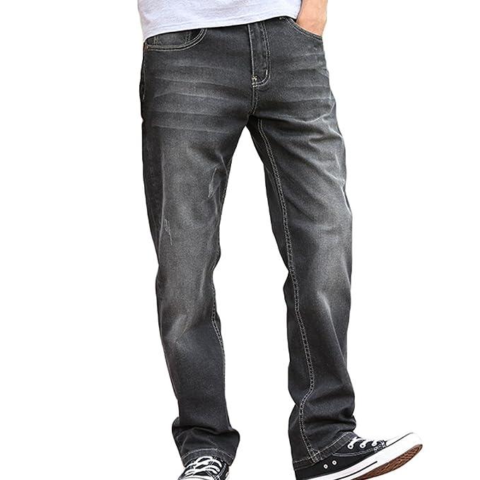 Vaqueros Elasticidad Loose Directamente Niseng Hombre Baggy Jeans xqYAwa7IA