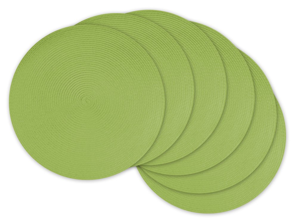 DII Round Braided/Woven, Indoor/Outdoor Placemat/Charger, Set of 6, Lime