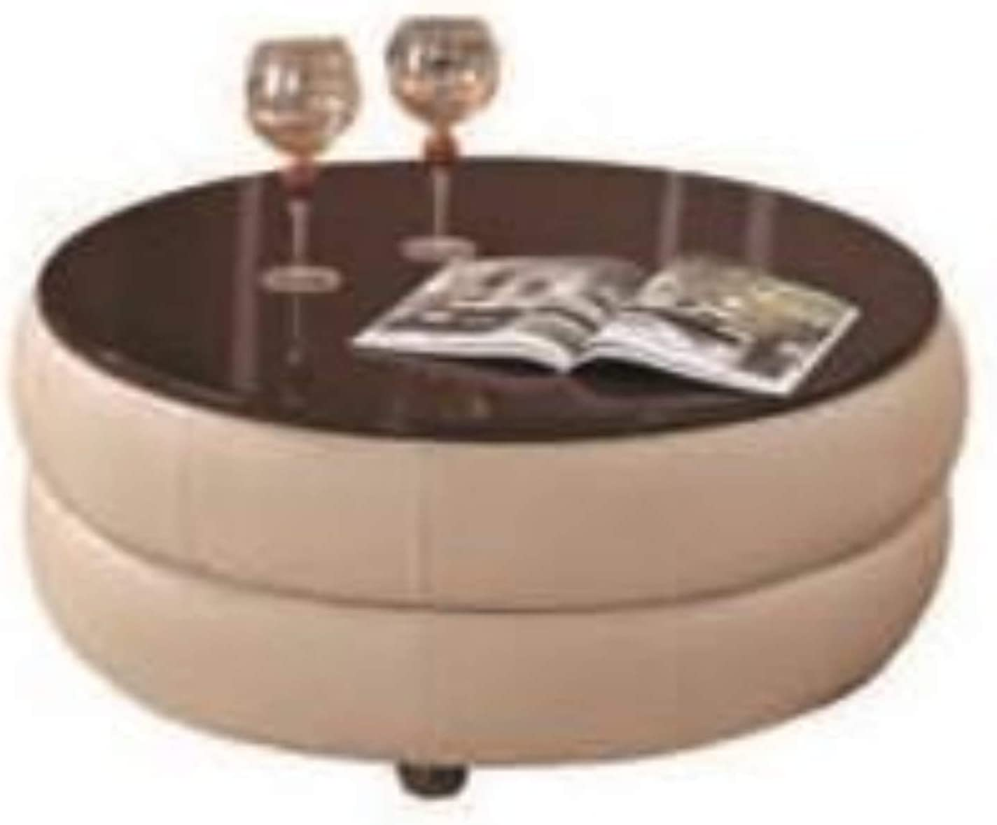 - Amazon.com: My Aashis Round Leather Coffee Table W/Brown Glossy