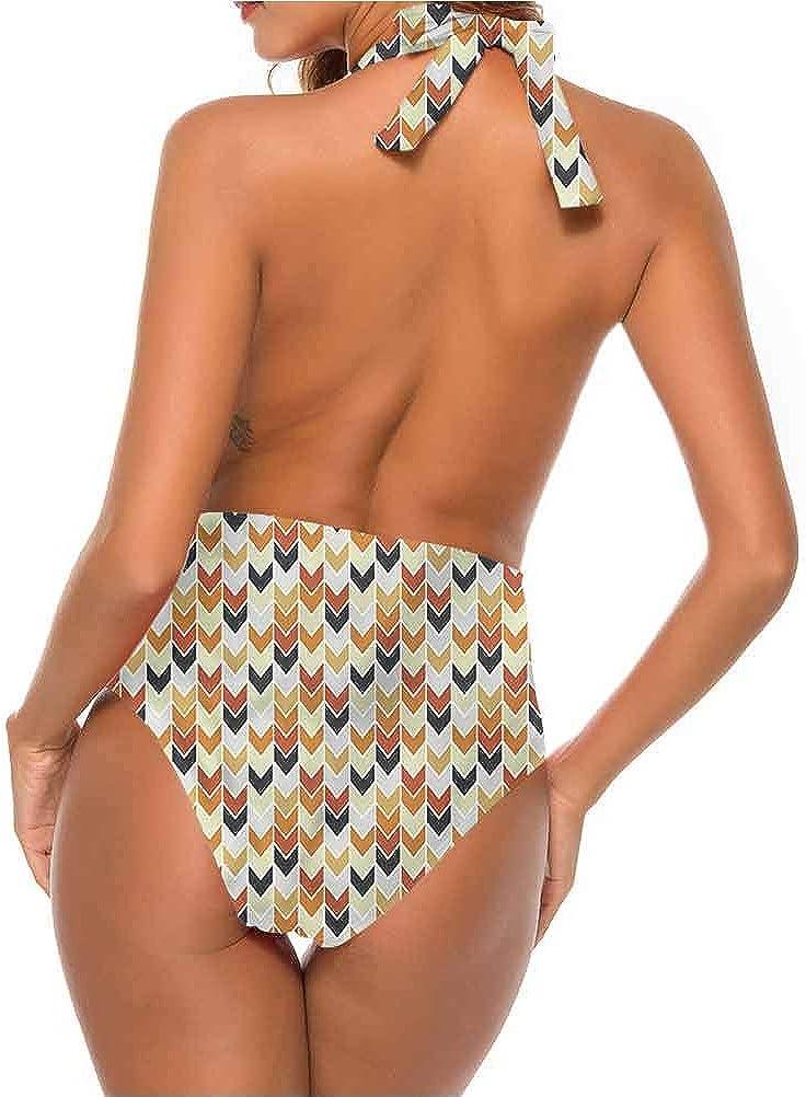 Bikini imprimé chevron, forme en V et rayures si confortables et flatteurs Multi 01