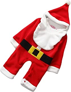 LUOEM Santa Claus Baby Romper Christmas Jumpsuit Hat Bib Set for Baby 12-24 Months Old