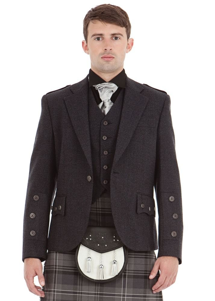 Kilt Society Mens Scottish Grey Tweed Braemar Kilt Jacket & Vest 50 Long