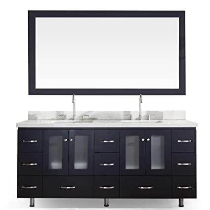 Ariel Americano B073d Blk Double Sink Solid Wood Bathroom Vanity Set