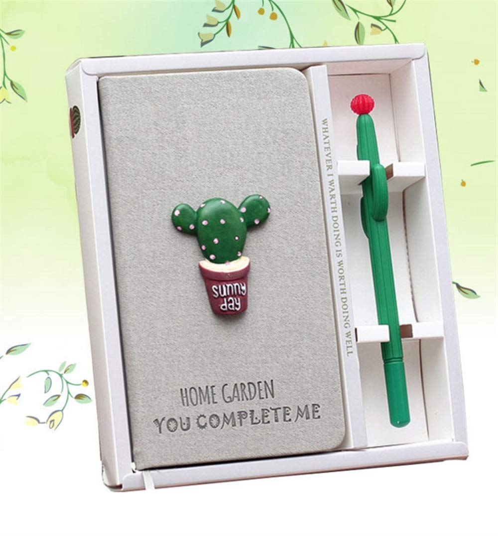 Zhahender Best for Student 2 Pcs Creative Cactus Portable Mini Nootbook Pen Set( Pink Cactus) by Zhahender