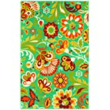 Shaw Al Fresco Floral Indoor/Outdoor Rug, 5-Feet 3-Inch by 7-Feet 10-Inch, Turquoise