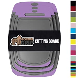 Gorilla Grip Original Reversible Cutting Board, 3 Piece, BPA Free, Juice Grooves, Larger Thicker Boards, Easy Grip Handle, Dishwasher Safe, Non Porous, X Large, Kitchen, Set of 3, Purple Gray