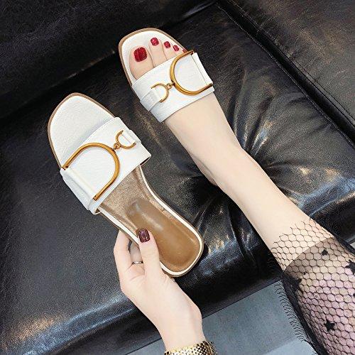 Sandalias de Fondo Verano ITTXTTI de Las C Mujeres de Red Plano de Plana Nueva Las de 2018 Mujeres Chic Usan Exterior Zapatillas Verano y Palabra Salvaje Zapatos Moda Rojas 8qWqC6