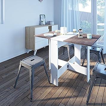 Contemporain Table Pliante avec 2 Abattants Blanc/Béton 103 x 76 x 73,4 cm
