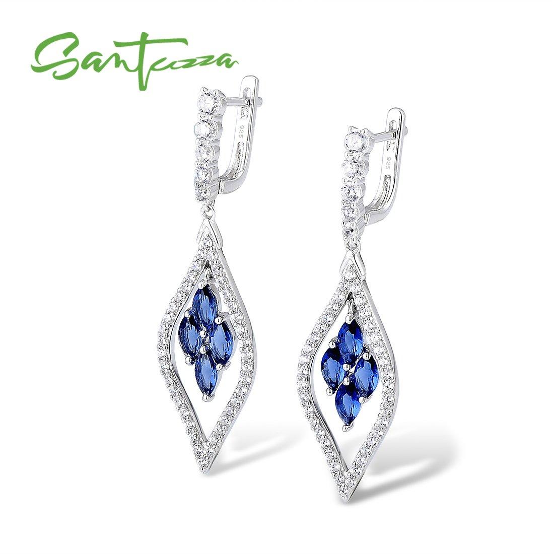Santuzza Sterling Silver Sapphire Color Stone Earrings For Women Blue Crystal CZ Jewelry