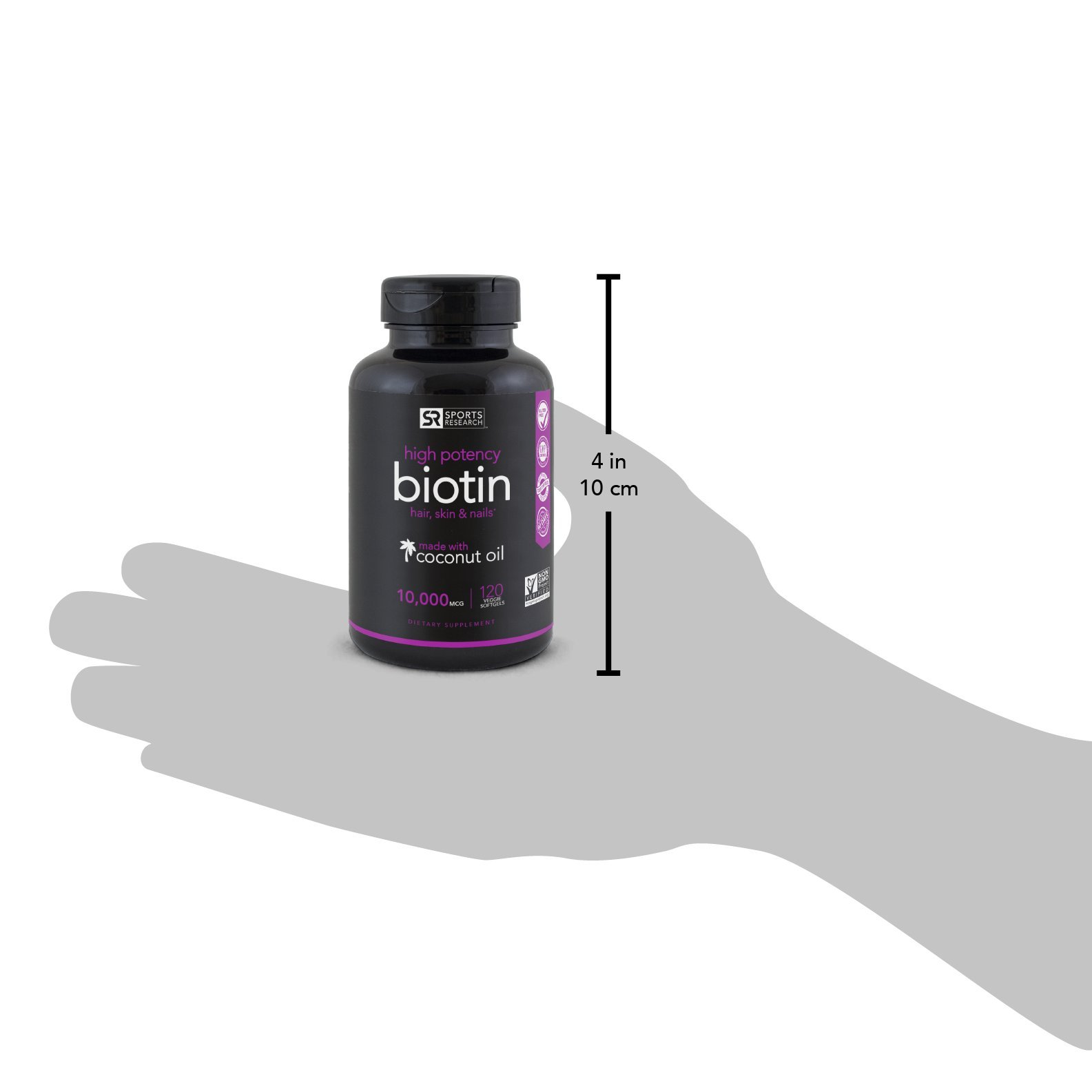 High Potency Biotin (10,000mcg) with Organic Coconut Oil; Supports Hair Growth, Glowing Skin and Strong Nails; 120 Mini-Veggie Softgels by Sports Research (Image #7)