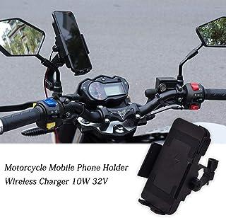 32V Motorrad Handyhalter mit kabellosem Ladegerät, 10W Universal-GPS-Gerätehalter für Fahrrad, Mountainbike, Motorrad - 360 ° drehbar